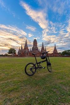 아유타야 지방의 오래 된 사원 와트 chaiwatthanaram (아유타야 역사 공원) 아시아 태국