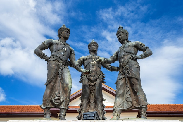 Old three kings monument builders is tourist attraction of chiang mai, thailand.
