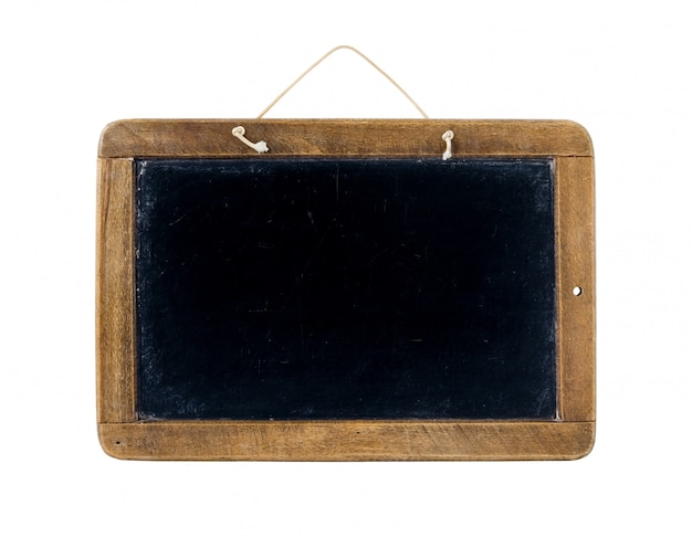 Old time slate writing tablet isolated on white