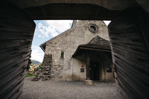 Old time stone church in switzerland