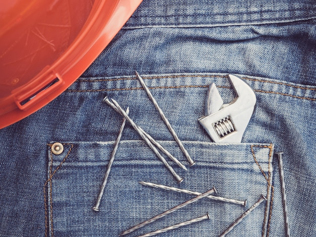 Old tools and blue jeans