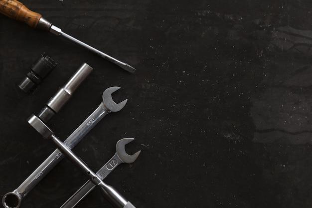 Old tools on mechanic's desk