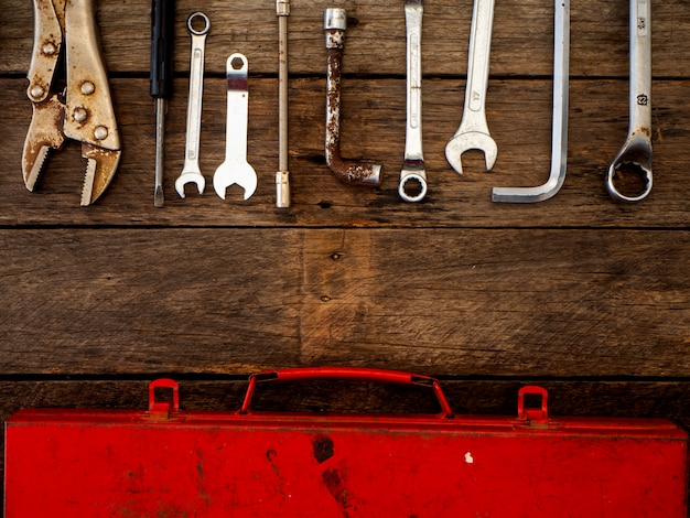 Old tools on a wooden table