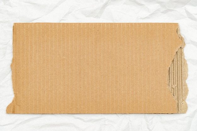 Old torn cardboard piece on paper sheet background with copy space