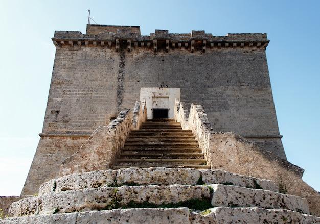 Old tower st. maria dell'alto near porto selvaggio, puglia, italy