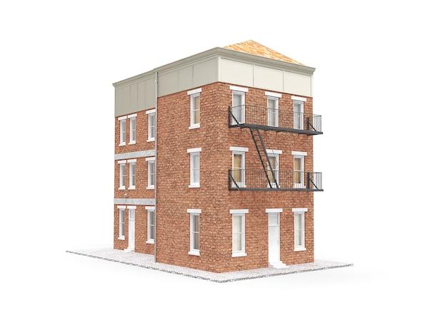 오래 된 도시 건물에 고립 된 흰색 배경. 3d 그림