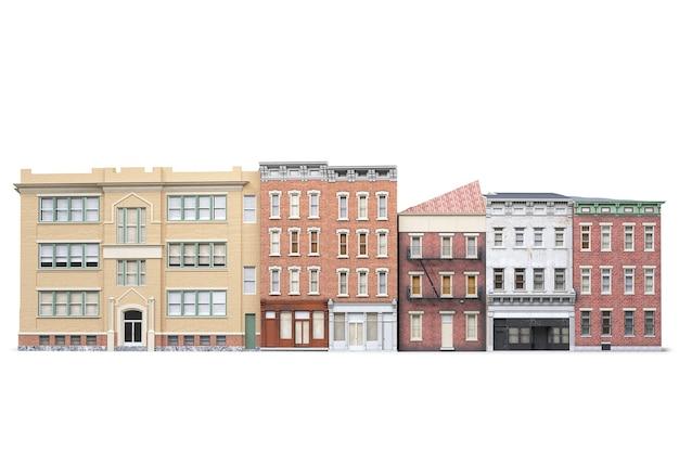 흰색 바탕에 오래 된 도시 건물 isolted입니다. 3d 그림