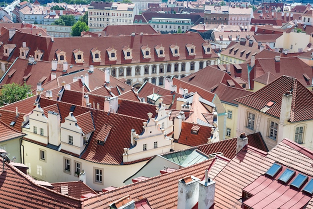 Old town cityscape of praha with red roofs