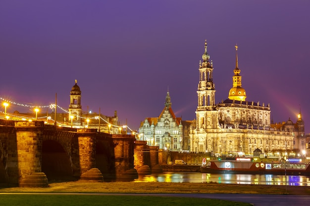 Old town and elba at night in dresden, germany