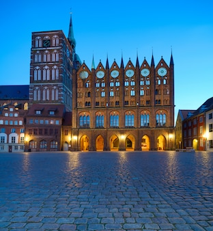 Old town hall and st. nicolas church in the evening, stralsund