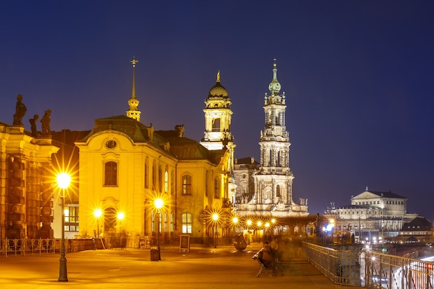 Old town at night in dresden, germany