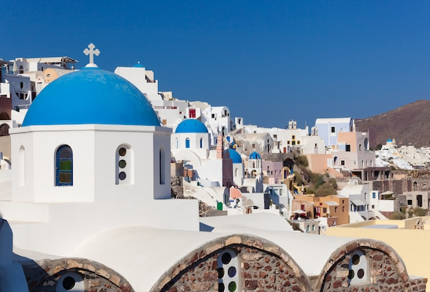 Old town of oia or ia in santorini island.