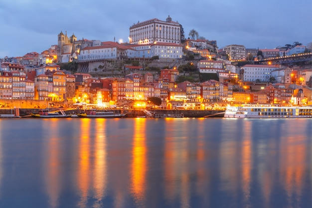 Old town of porto at night, portugal.