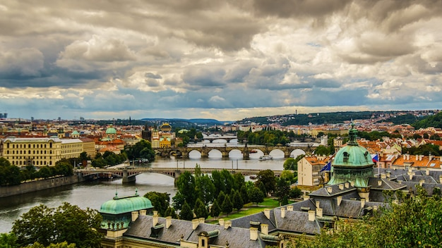 Old town of prague. czech republic over river vltava with saint vitus cathedral on skyline.praha panorama landscape view.