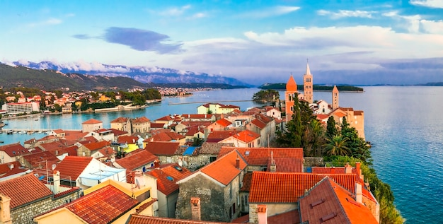 Old town rab over sunset travel in croatia rab island