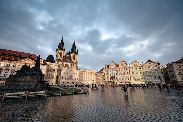 Old town square in the heart of the czech city of prague