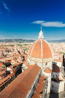 Old town view with cathedral church santa maria del fiore at sunny day, florence, italy