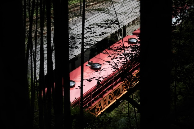 Old train from bamboo grove in kyoto