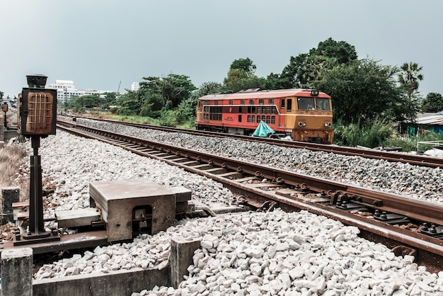 The old train is driving after repairing.test the machine,vintage train in thailand