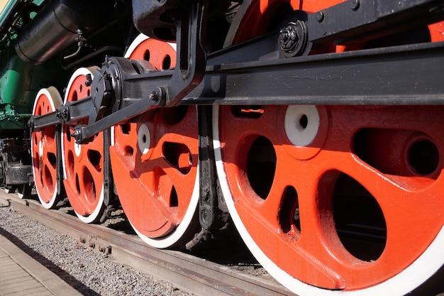 Old train wheels on railway, closeup
