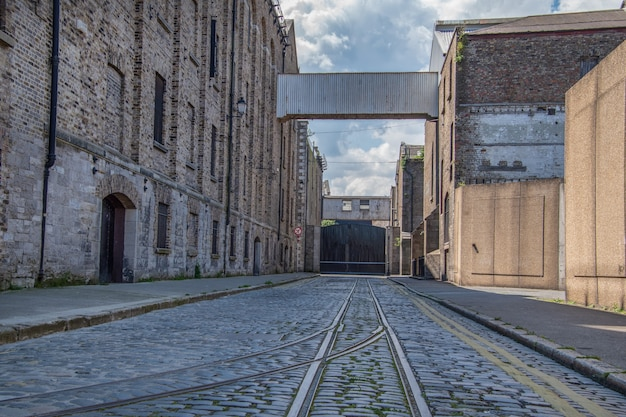An old tram tracks in the city of dublin