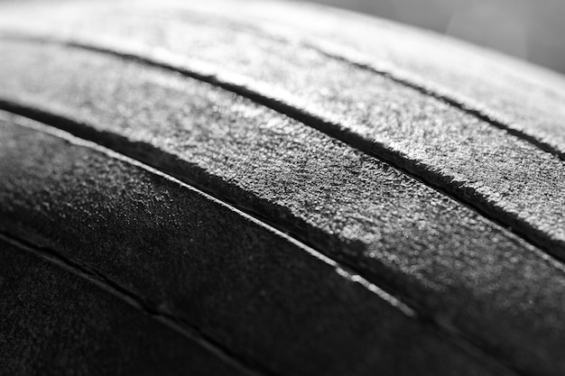 Old tread pattern for vehicle. car wheel abrasion reduces safety