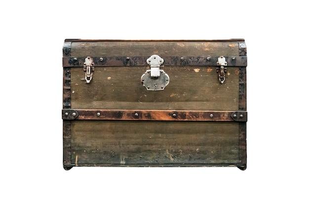 白い背景で隔離の古い宝箱。ヴィンテージヴィンテージダークグリーンボックス