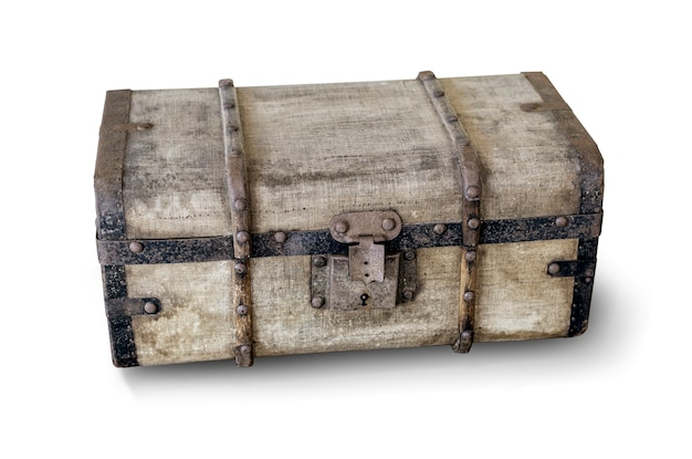 Old trunk isolated on white