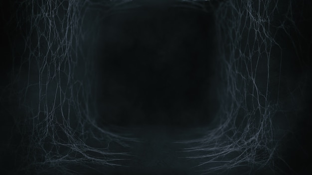 Old tunnel with spider web and fog atmosphere in dark theme for halloween scary background, 3d rendering.