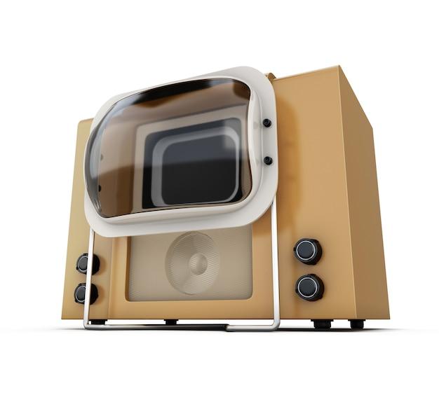 오래 된 tv 근접 흰색 배경에 고립입니다. 3d 그림.
