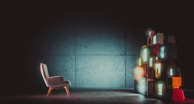 Old tvs on and an empty armchair. concrete interior. nobody around. 3d render.