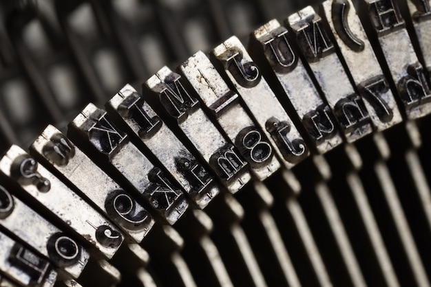 Old typewriter letters close up