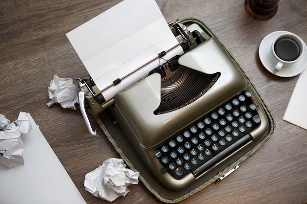 Old typewriter paper coffee