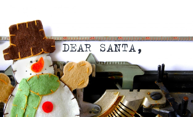 Old typewriter text dear santa letter