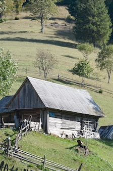 The old ukrainian hut with a slate roof and a wooden fence in a green field