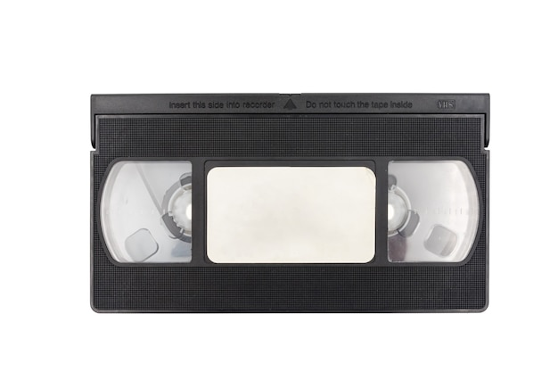 Old video cassette tape on white background.
