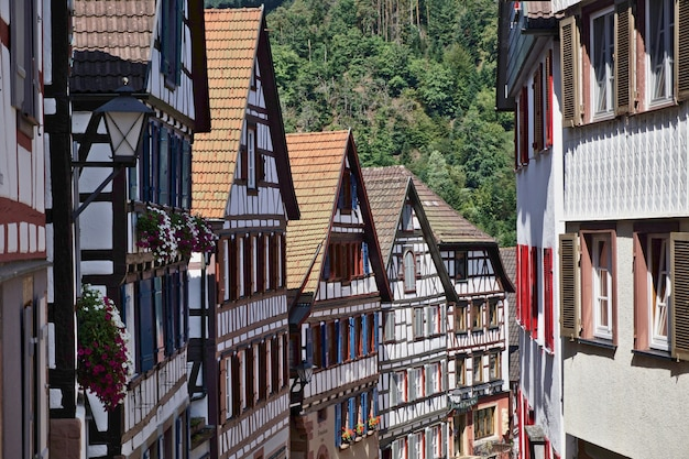 Old village centre of schiltach in the black forest with picturesque half-timbered houses.