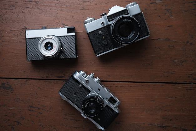 古いヴィンテージ35mm金属フィルムカメラ、クローズアップ