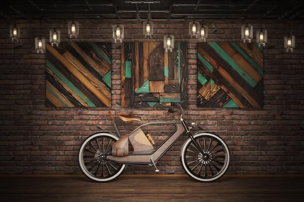 Старый старинный велосипед. стиль стимпанк