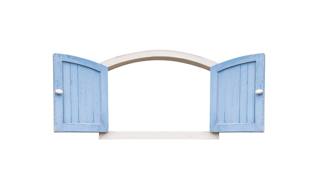 白い背景で隔離の古いヴィンテージの青い木製の窓