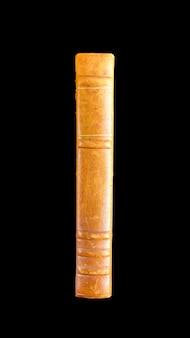 Старый старинный книжный корешок, изолированные на черном фоне
