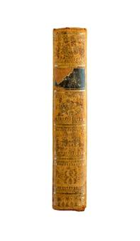 Старый старинный книжный корешок, изолированные на белом фоне