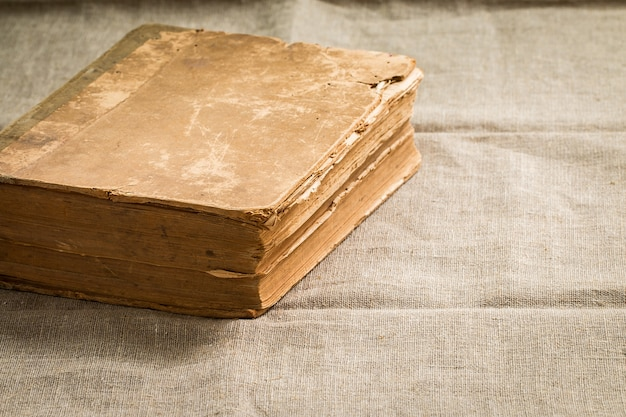 Old vintage book with yellowed aged pages