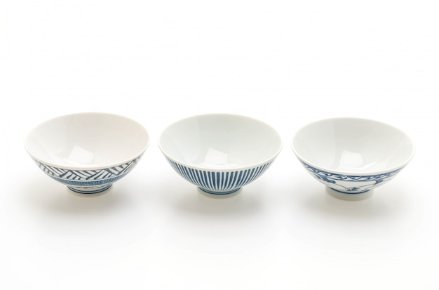 Old and vintage bowl on white background