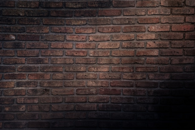 Old vintage brick wall, decorative dark brick wall surface for background