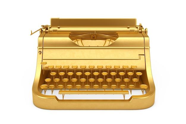 Старая винтажная золотая ретро пишущая машинка на белом фоне. 3d рендеринг