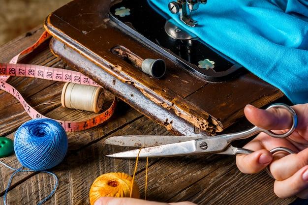 Old vintage hand sewing machine