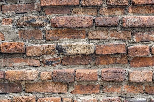 Old vintage orange brick wall background texture.