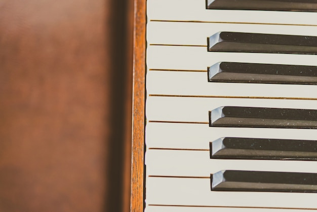 Old vintage piano keys