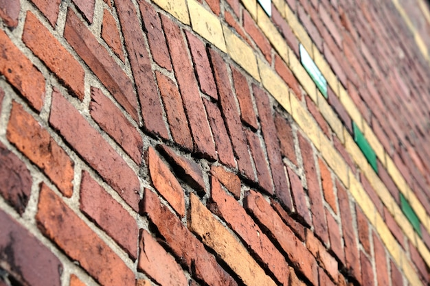 古いヴィンテージの赤レンガの壁。抽象的な建築のロフトの背景